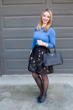 Styling a floral a-line skirt for the office with a blue sweater & bow pumps. Full post: https://avecamber.blogspot.com/2018/02/floral-satin-skirt.html