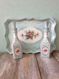 Beautiful Shafford Parisienne Blue Teal Tray and 2 Perfume Bottles, Vintage Teal Shafford