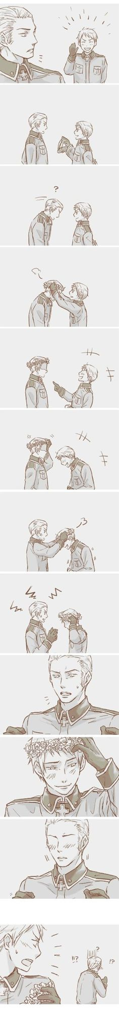 Germany knows what the fangirls know XD That Prussia is hella sexy