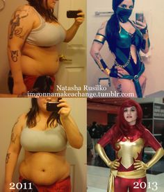 For all my nerdy, cosplaying friends out there, here's a nerdtastic before/after. Clean eating and working out = 60+ pounds lost.