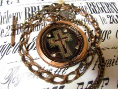 Madonna Enchanted antique religious necklace metallic velvet embroidered cross Victorian pocket watch case reliquary one of a kind jewelry by madonnaenchanted on Etsy