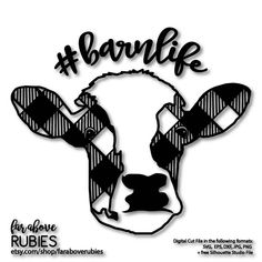 Cow Barn Life Buffalo Plaid Check Farmhouse Farm Southern Style SVG, EPS, dxf, png, jpg digital cut file for Silhouette or Cricut Buffalo Print, Buffalo Plaid, Cow Pattern, Barn Quilt Patterns, Scan And Cut, Monogram Decal, Silhouette Cameo Projects, Pattern Cutting, Vinyl Crafts
