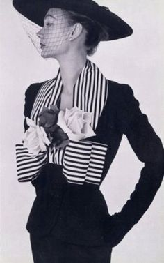 I LOVE the stripes!  Jacques Fath 1952 Women's vintage fashion photography clothing designer