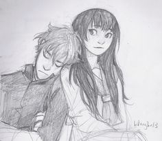 oreki and chitanda, hyouka || http://burdge.tumblr.com/post/68023930857/confession-time-i-draw-too-much-hyouka-when-i [please do not remove this caption with the source]
