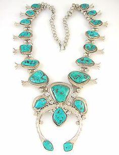 HUGE-Navajo-Handmade-Sterling-Silver-Morenci-Turquoise-Squash-Blossom-Necklace-J
