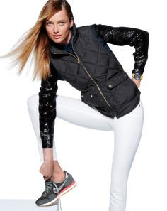 white + black + sequin + vintage nikes / J.Crew Excursion quilted vest with sequin sleeves  retro nikes