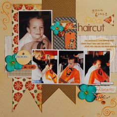 Your first real haircut by Rene Sharp at Studio Calico Baby Scrapbook Pages, First Haircut, Studio Calico, Scrapbooking Layouts, Hair Cuts, Baseball Cards, Gallery, Bucket, Creative