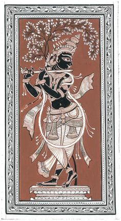 Bijay Parida - Krishna Playing Flute @ The Dancing Line by Bijay Parida Kerala Mural Painting, Buddha Painting, Krishna Painting, Krishna Art, Pichwai Paintings, Indian Art Paintings, Kalamkari Painting, Madhubani Painting, Indian Traditional Paintings