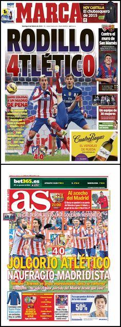 Derbi Atlético de Madrid - Real Madrid (07/02/15). Esta fecha quedará grabada en la historia del Atletico de Madrid, por la contundente victoria colchonera sobre los merengues.