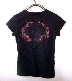 Womens Harley-Davidson Textured Black T-Shirt S Ochio Rios Jamaica Floral #HarleyDavidson #KnitTop