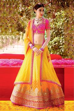 Georgette Semi Stitched A-Line Lehenga Choli In Yellow Colour
