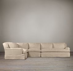 Preconfigured Belgian Classic Roll Arm Slipcovered L-Sectional