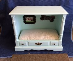 Dog bed from a vintage television cabinet.  This was a fun project!