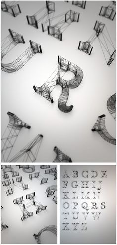 Wireframe letters posted by Type Worship on Tumblr.  These delicately structured letters have been created by Dan Hoopert for a college project in Cinema 4D, their light construction reminiscent of a bridge structure or scaffolding.