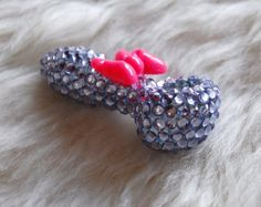 Girly Purple Rhinestone with Pink Bow Glass Pipe $38
