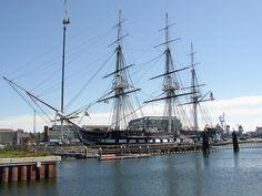 """Old Ironsides"" in Boston Harbor"