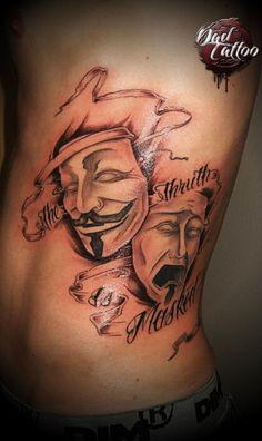 Théâtre mask happy sad Dad TattoO Studio