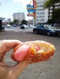 Guava malasadas only at Leonard's Bakery in Honolulu, Hawaii.  Fresh, hot and incredibly ONO! (delicious) :-)