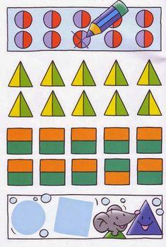 Maestra de Infantil: Fichas a color de Prematemáticas. Actividades de Lógicomatemáticas para infantil Gross Motor Activities, Color Activities, Sensory Activities, Pre Writing, Creative Thinking, Pre School, Literacy, Kindergarten, Kids Rugs