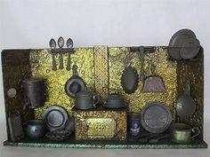 Antique Toy Tin Kitchen Original Paint Pots Pans Dishes Tank Vintage 1883   eBay-$385.00.