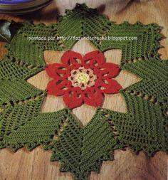 Crochê Gráfico: Centro de mesa em crochê flor Natal