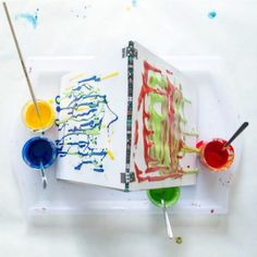 Drip Painting with Kids at a DIY Cardboard Easel (Explore Gravity in Art! Drip Painting, Painting For Kids, Art For Kids, Kid Art, 4 Kids, Gravity Art, Melted Crayon Heart, Art Activities For Kids, Camping Activities