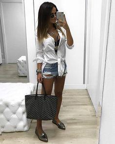 Looks camisa jeans, look com camisa branca и looks femininos. Cute Fashion, Look Fashion, Girl Fashion, Fashion Outfits, Womens Fashion, Cute Summer Outfits, Casual Outfits, Cute Outfits, Looks Camisa Jeans