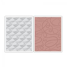 Sizzix Texture Fades Embossing Folders 2PK - Paper Airplane & Dotted Lines Set