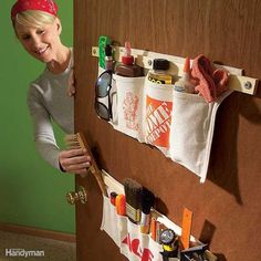 Tool aprons can be modified to store nearly any household item. Just sew a variety of pocket widths ... - Provided by The Family Handyman
