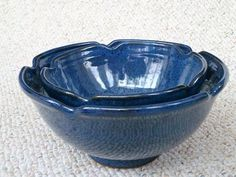 """Nesting stoneware serving bowls, glazed in Cone 6 """"Starry Night"""".  Made by Shelley Duncan"""