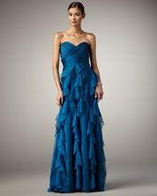 Love the neckline, love the ruffles, love the fabric! Badgley Mischka Platinum Label Ruffle-Skirt Gown in Blue, $695