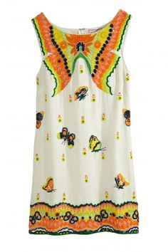 Yantra Butterfly Embellished Linen Dress  | Calypso St. Barth