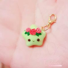Cute Kawaii Glow in the Dark Rose Guardian Polymer Clay Charm / Progress Keeper / Pendant / Planner Charm / Rainbow Star Collection ❤This cute Kawaii glow in the charm of Dark Pink Guardian Polymer Clay may differ from the photo because it Polymer Clay Kunst, Polymer Clay Figures, Polymer Clay Miniatures, Polymer Clay Projects, Polymer Clay Creations, Diy Clay, Clay Crafts, Fimo Kawaii, Polymer Clay Kawaii