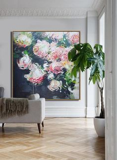 CZ Art Design - Abstract Flower Oil Painting, large abstract floral art, pink rose art textured painting @CelineZiangArt