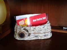 Riciclando la carta:                                                                    cesta portatutto.                                                                                    Realizzata da Giuseppina Monni.