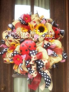 I WANT THIS!!!! | Lady Bug Burlap Wreath by WreathsbyDesign1 on Etsy, $85.00