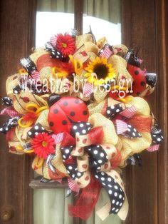 I WANT THIS!!!! | Lady Bug Burlap Wreath by WreathsbyDesign1 on Etsy, $85.00