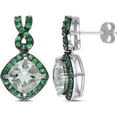 Miadora Sterling Silver Green Amethyst Tsavorite Infinity Earrings ($162) ❤ liked on Polyvore featuring jewelry, earrings, green, sterling silver earrings, round earrings, sterling silver butterfly earrings, long earrings and cushion cut earrings