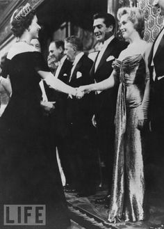 vintage everyday: Marilyn Monroe meets Queen Elizabeth II, London, 1956