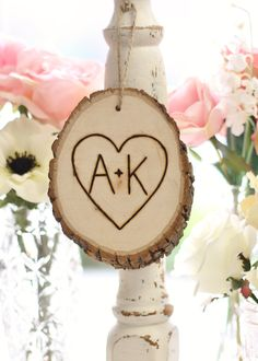 Personalized Rustic Tree Slice Ornament Engraved Wood Shabby Chic Holiday Decor Wedding Gift READY TO SHIP. $12.50, via Etsy.