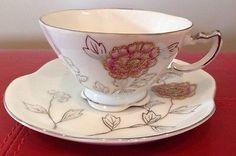 Vintage Ucagco China Tea Cup and Saucer Set-Marked-Japan-Original Tag Flower. L7
