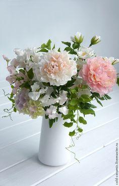 Цветы летнего сада - белый,цветы из полимерной глины,цветы ручной работы