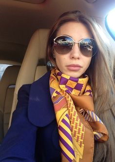 wearing a scarf in the car
