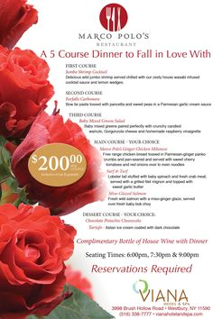 Valentines 5 Course Dinner for Two at Viana Hotel and Spa in Marco Polo's Restaurant. Valentines Day Dinner, Valentines Food, Restaurant Advertising, Restaurant Bar, 5 Course Meal, Progressive Dinner, Dinner Party Menu, Cocktail Sauce, Marco Polo