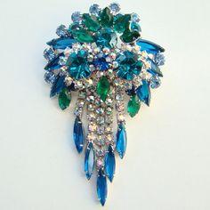 Juliana DeLizza Elster Rhinestone Pendant Brooch Blue Teal Dangles Owl Design