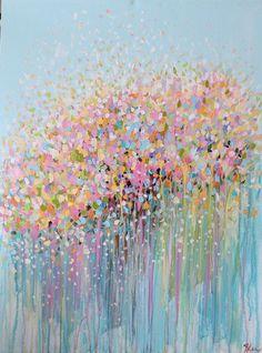 original abstract art -abstract acrylic painting--pastel shades painting-original abstract painting - modern art- flower painting