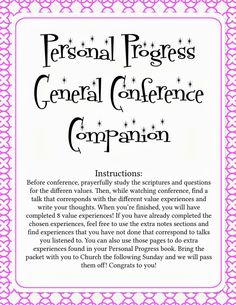 YW Personal Progress General Conference Packet by MyDaylightsShop