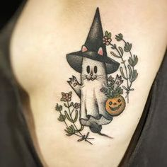 These Fall Tattoos will make you nostalgic for the taste of hot apple cider and Halloween sweets. Ghost Tattoo, Witch Tattoo, Cat Tattoo, Lion Tattoo, Time Tattoos, Body Art Tattoos, Sleeve Tattoos, Cool Tattoos, Horse Tattoos