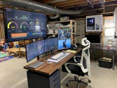 Who else had to utilize their unfinished basement into their work from home offi. Who else had to utilize their unfinished basement into their work from home office? Computer Gaming Room, Gaming Room Setup, Computer Setup, Desk Setup, Gaming Rooms, Basement Home Office, Home Office Setup, Office Ideas, Office Interior Design