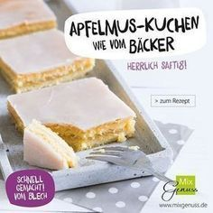 Apfelmuskuchen as from the bakery, this looks sooo … delicious! Baking Recipes, Cake Recipes, Mini Tortillas, Sweets Cake, Macaron, Food Cakes, Cakes And More, Cake Cookies, Coco